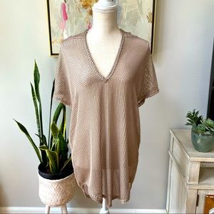 Elif for Jordan Taylor gold crochet tunic cover up